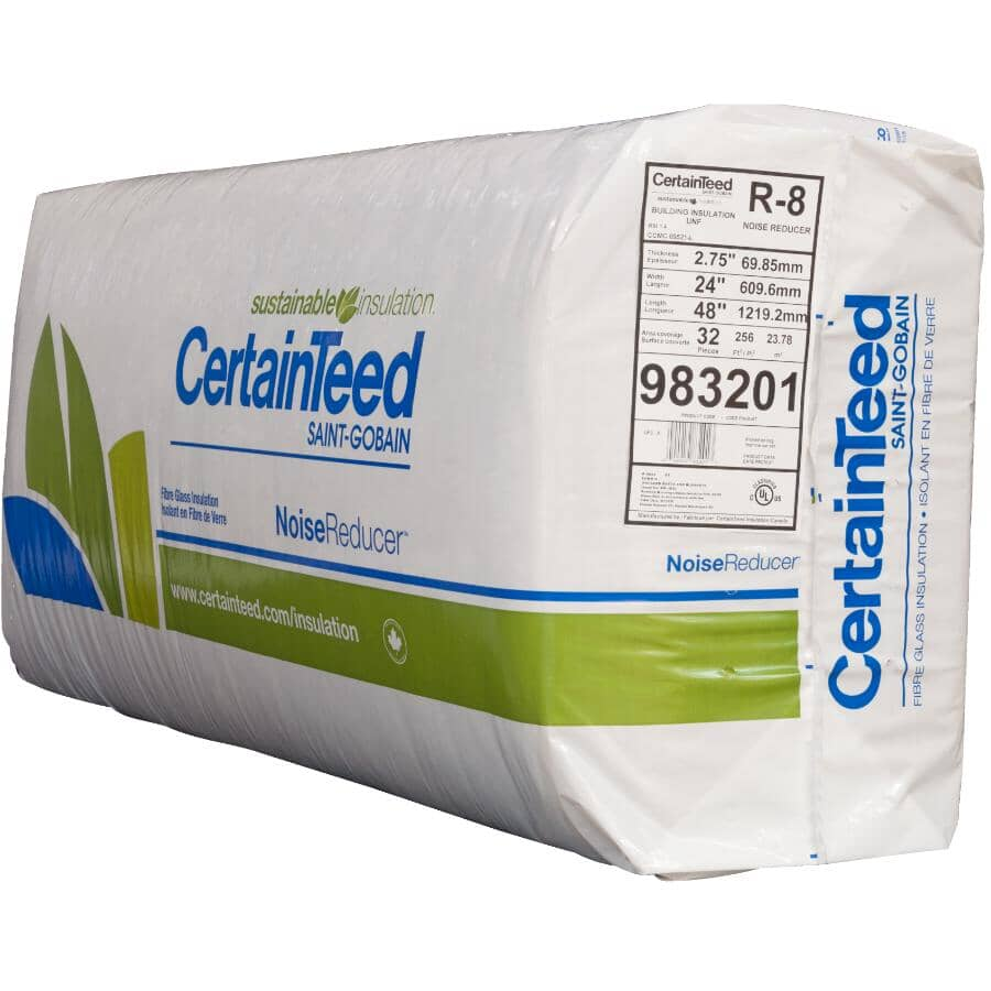 """CERTAINTEED:R8 x 24"""" Noise Reducer Fiberglass Insulation, covers 256 sq. ft."""