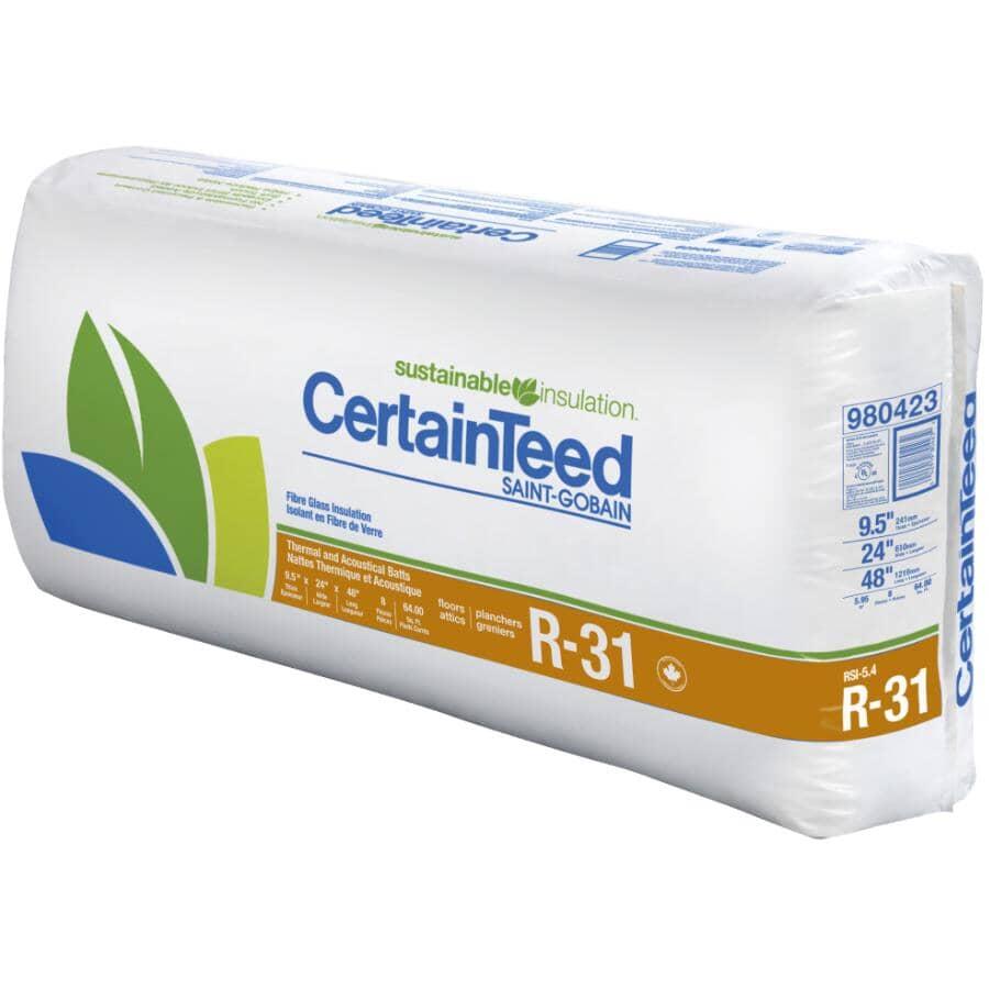 "CERTAINTEED:R31 x 24"" Fiberglass Insulation, covers 64.0 sq. ft."