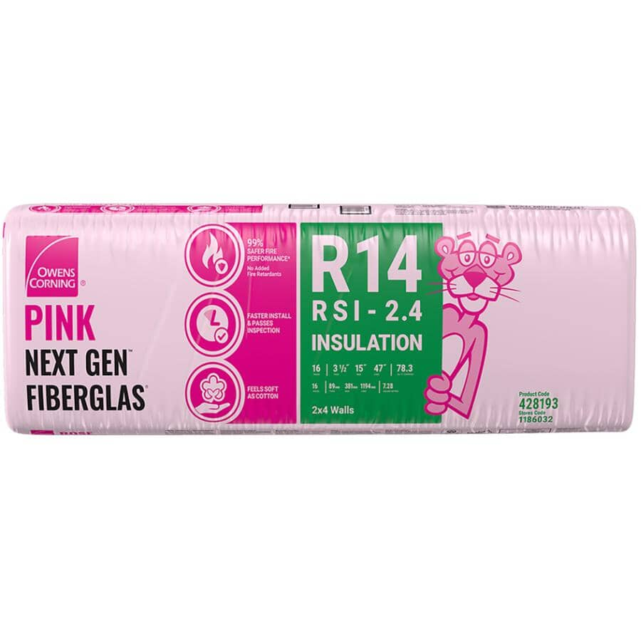 """OWENS CORNING:R14 x 15"""" Pink Insulation, covers 78.3 sq. ft."""