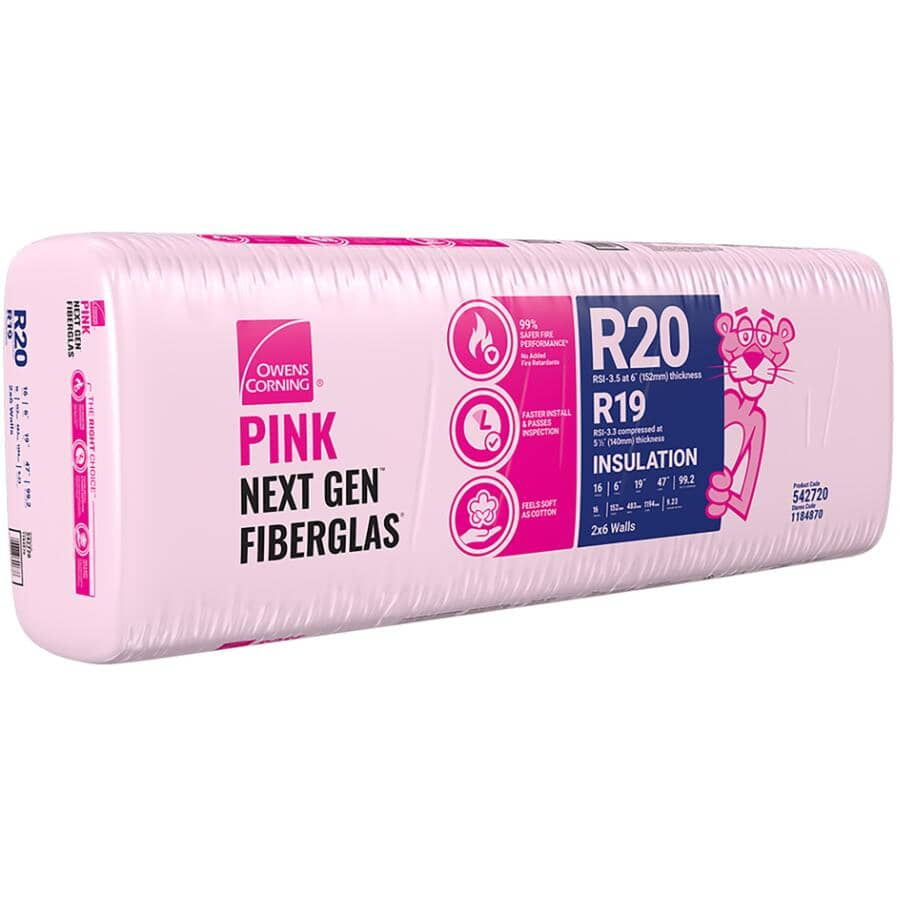"""OWENS CORNING:R20 x 19"""" Pink Insulation, covers 99.4 sq. ft."""