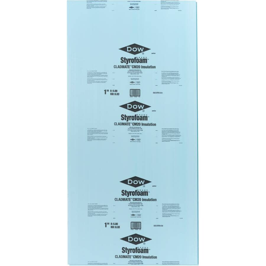 """DOW:1"""" x 4' x 8' Styrofoam Cladmate CM20 Ship Lap Foam Insulation"""