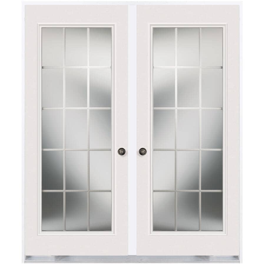 """DOORSMITH:30"""" x 82"""" Right Hand Garden Double Steel Door, with 20"""" x 64"""" 15 Lite"""