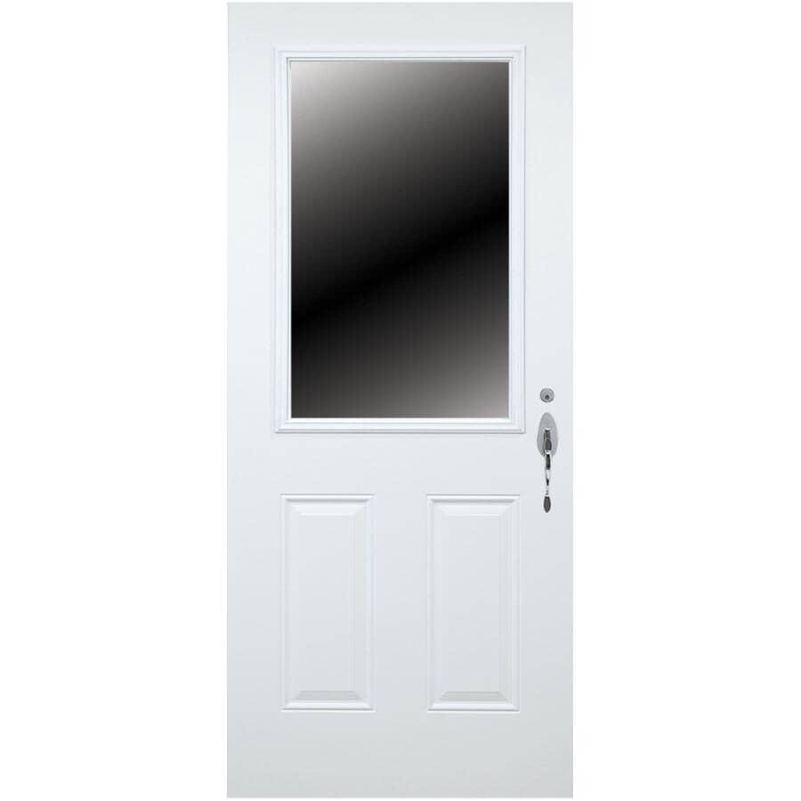 DIMENSIONS PORTES ET FENETRES:Porte en acier B02 de 34 po x 80 po enduite de vinyle à ouverture à gauche, avec fenêtre de 23 po x 49 po et montant de 7-1/4 po