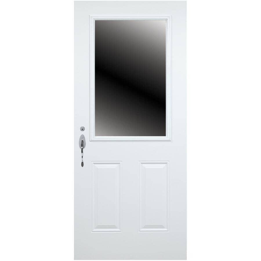DIMENSIONS PORTES ET FENETRES:Porte en acier B02 de 34 po x 80 po enduite de vinyle à ouverture à droite, avec fenêtre de 23 po x 49 po et montant de 7-1/4 po
