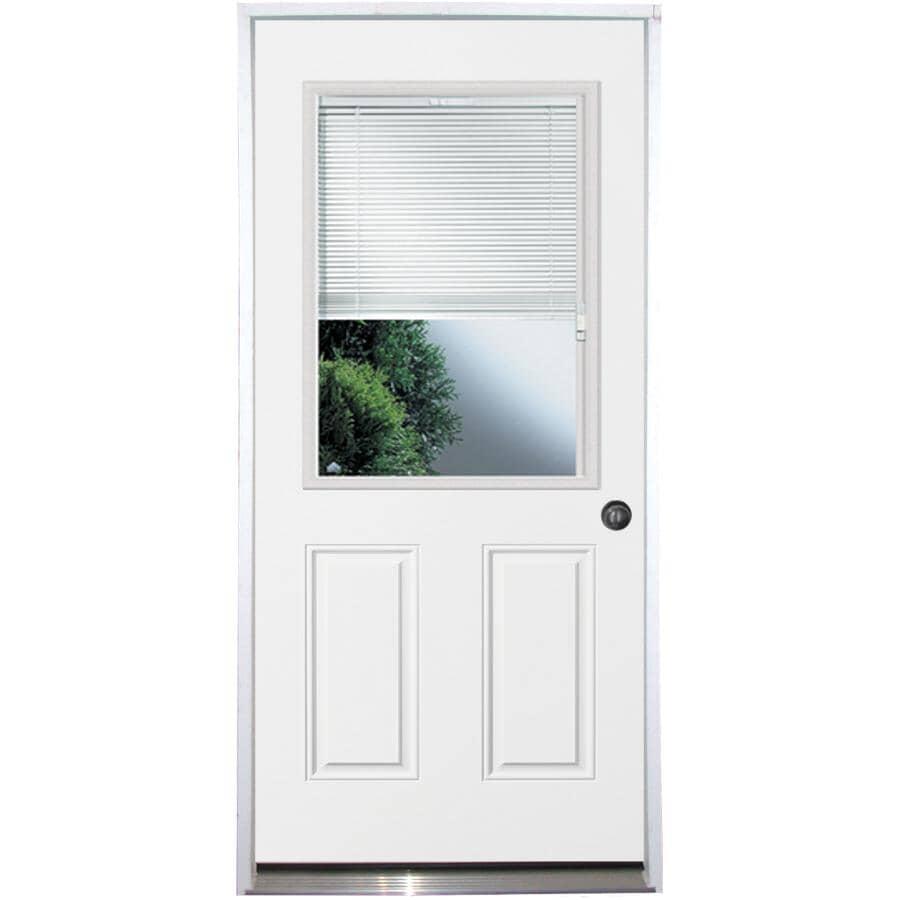 """DOORSMITH:36"""" x 80"""" Utility Raise / Lower Mini Blind Left Hand Steel Door"""