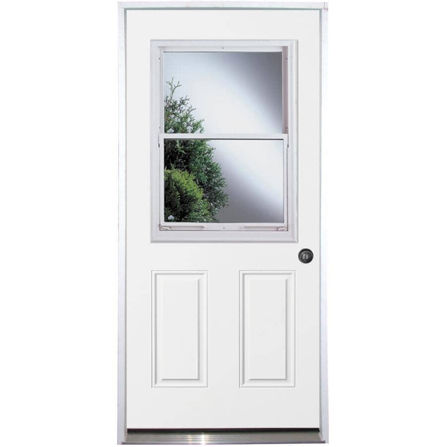 """DOORSMITH:32"""" x 80"""" Utility Left Hand Steel Door - with Vented 22"""" x 36"""" Lite"""