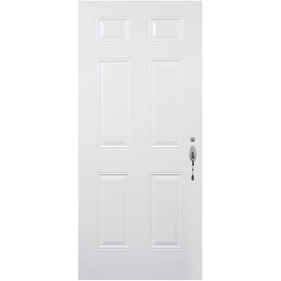 DIMENSIONS PORTES ET FENETRES:Porte en acier B01 de 34po x 80po enduite de vinyle à ouverture à gauche et montant de 7-1/4 po