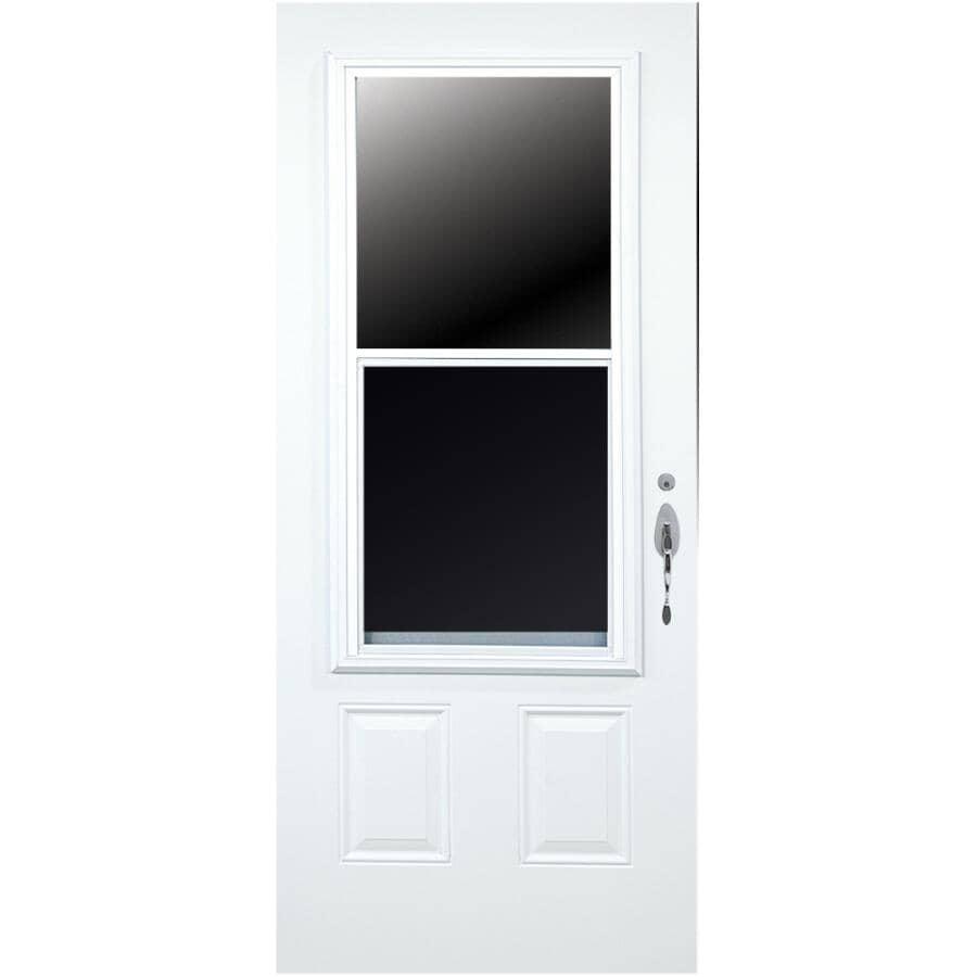 DIMENSIONS PORTES ET FENETRES:Porte en acier D03 enduite de vinyle de 34po x 80po à ouverture à gauche et fenêtre de 23po x 49po