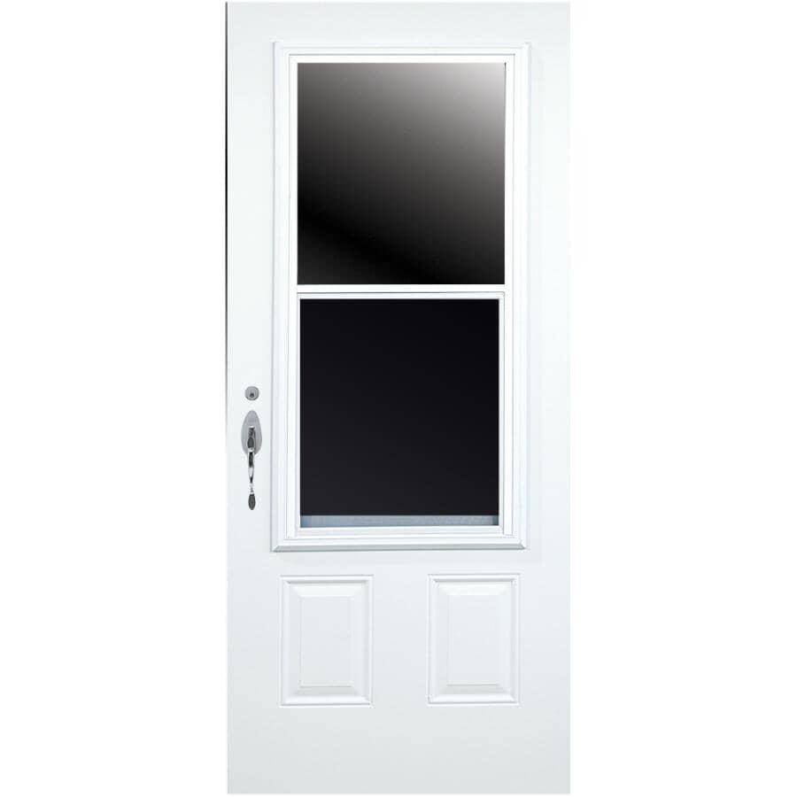 DIMENSIONS PORTES ET FENETRES:Porte en acier D03 enduite de vinyle de 34po x 80po à ouverture à droite et fenêtre de 23po x 49po