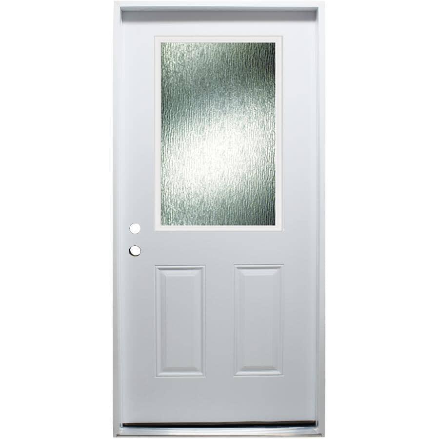 "DOORSMITH:32"" x 80"" Right Hand Polytech Steel Door, with 22"" x 36"" Privacy Rain Lite"