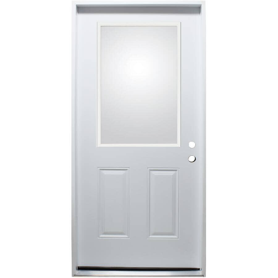 """DOORSMITH:32"""" x 80"""" Left Hand Steel Door - with Clear 22"""" x 36"""" Lite"""