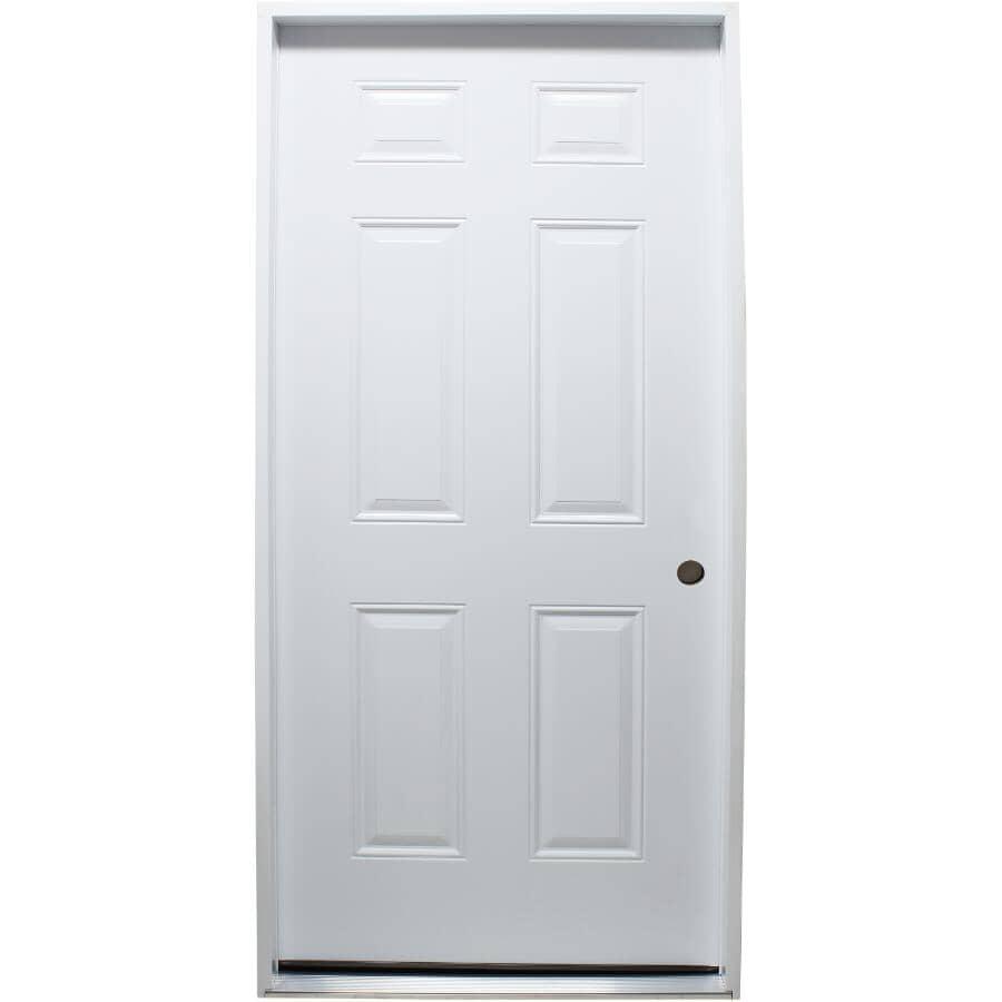 """DOORSMITH:36"""" x 80"""" Polytech 6 Panel Left Hand Steel Door"""