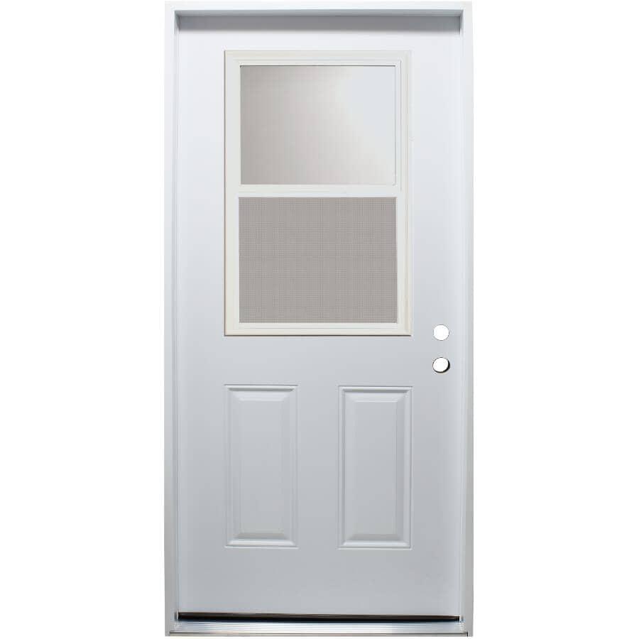 """DOORSMITH:32"""" x 80"""" Left Hand Polytech Steel Door, with 22"""" x 36"""" Vent Lite"""