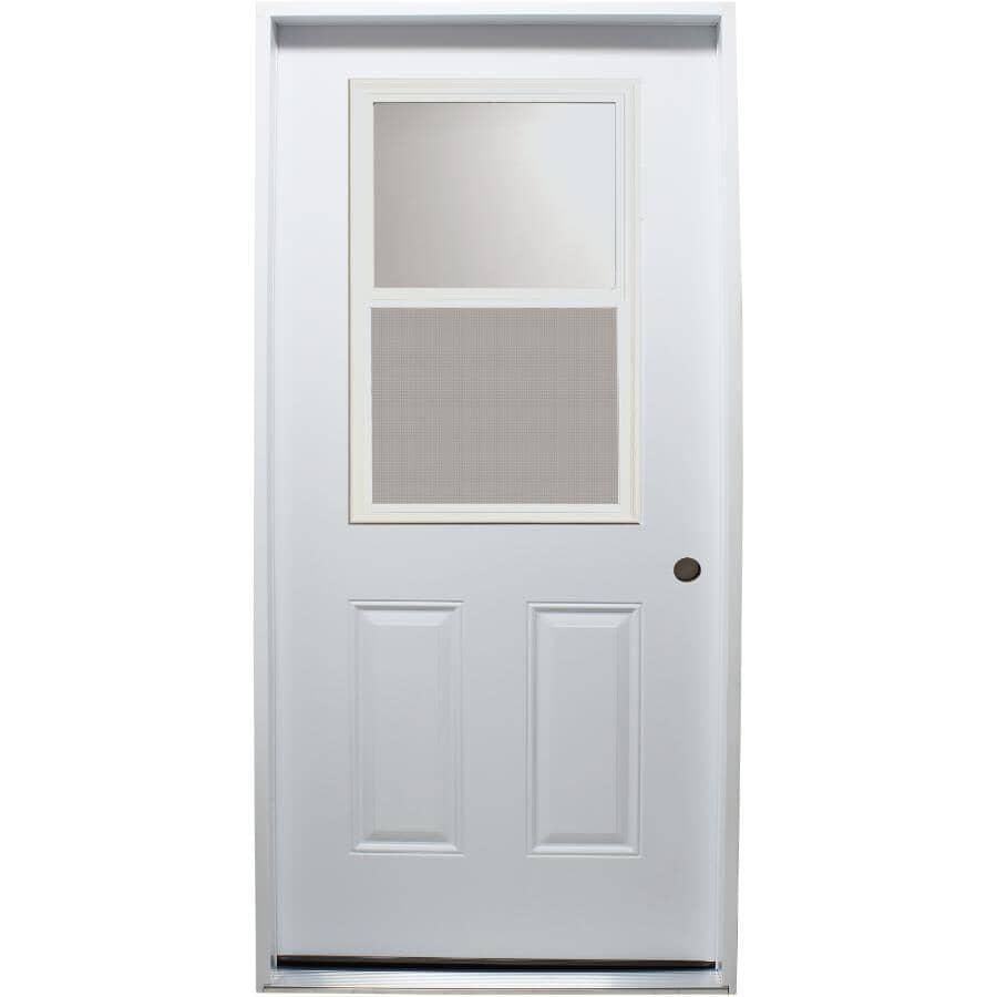 """DOORSMITH:34"""" x 80"""" Left Hand Polytech Steel Door, with 22"""" x 36"""" Vent Lite"""