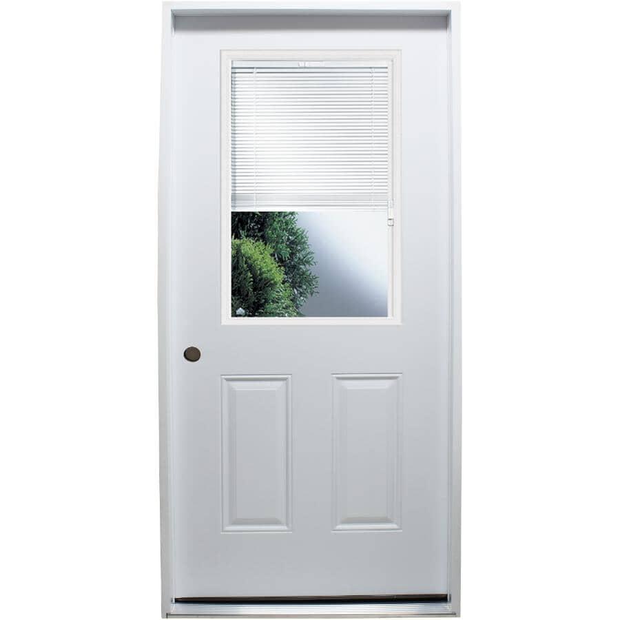 """DOORSMITH:32"""" x 80"""" Polytech Right Hand Steel Door, with 22"""" x 36"""" Mini Blind Lite"""