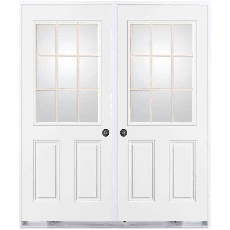 """DOORSMITH:32"""" x 82"""" Right Hand Outswing Double Shed Steel Door, with 22"""" x 36"""" 9 Lite"""