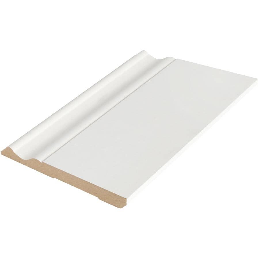 "ALEXANDRIA MOULDING:1/2"" x 5-1/4"" x 8' Primed Medium Density Fibreboard Colonial Baseboard Moulding"