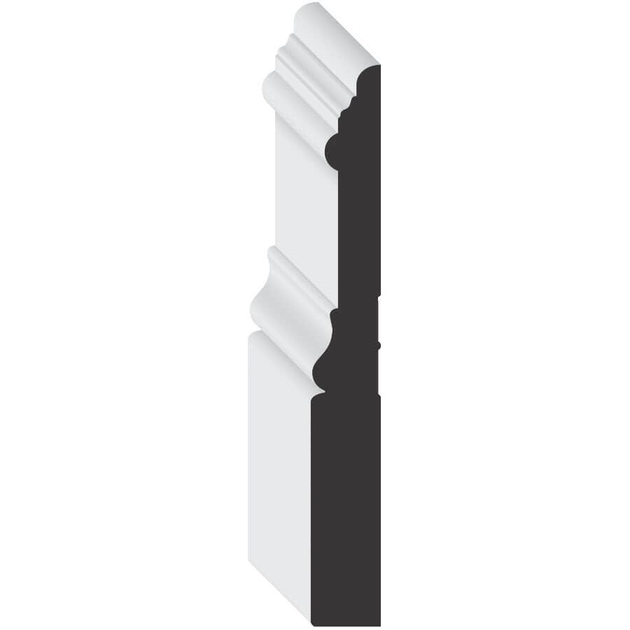 """METRIE:9/16"""" x 5"""" Medium Density Fibreboard Primed Colonial Baseboard Moulding, by Linear Foot"""