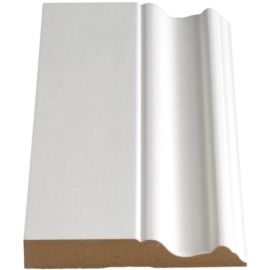 """ALEXANDRIA MOULDING:5/8"""" x 4"""" Medium Density Fibreboard Primed Baseboard Moulding, by Linear Foot"""