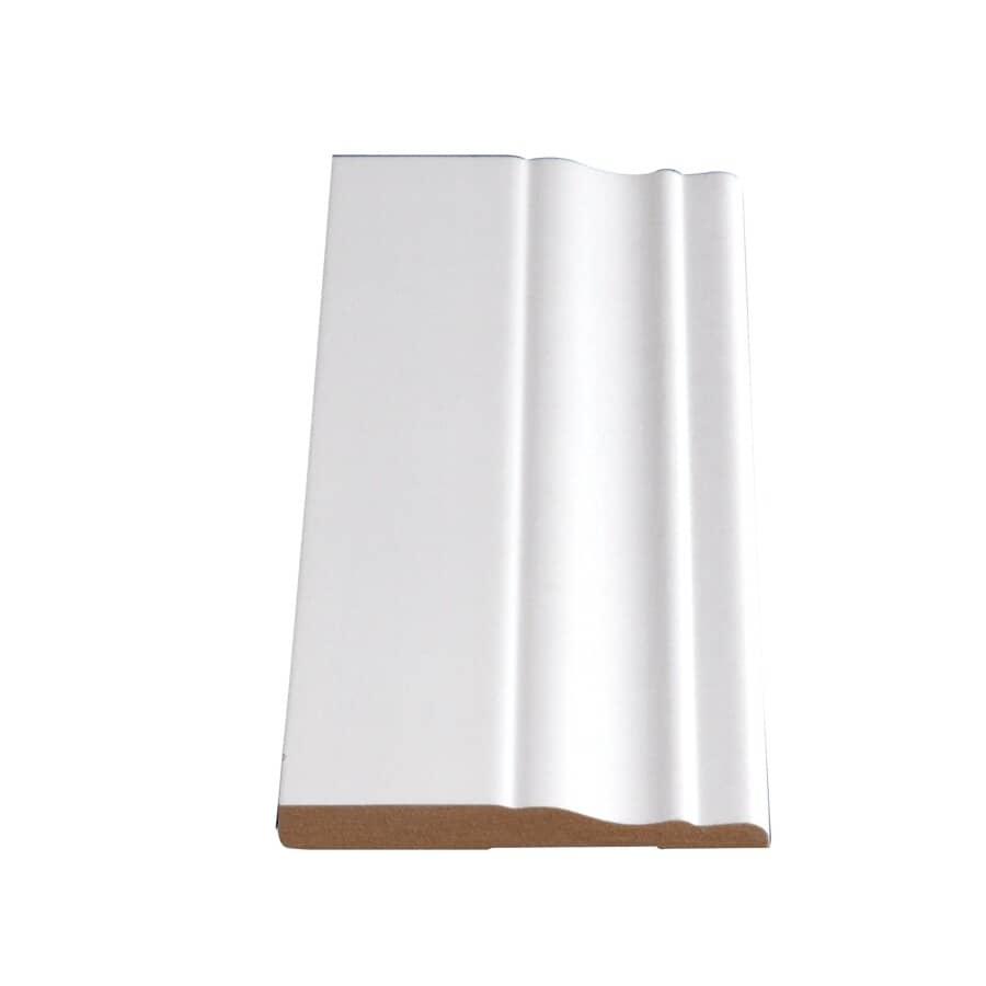 "ALEXANDRIA MOULDING:3/8 x 3-1/4"" Medium Density Fibreboard Primed Colonial Baseboard Moulding, by Linear Foot"