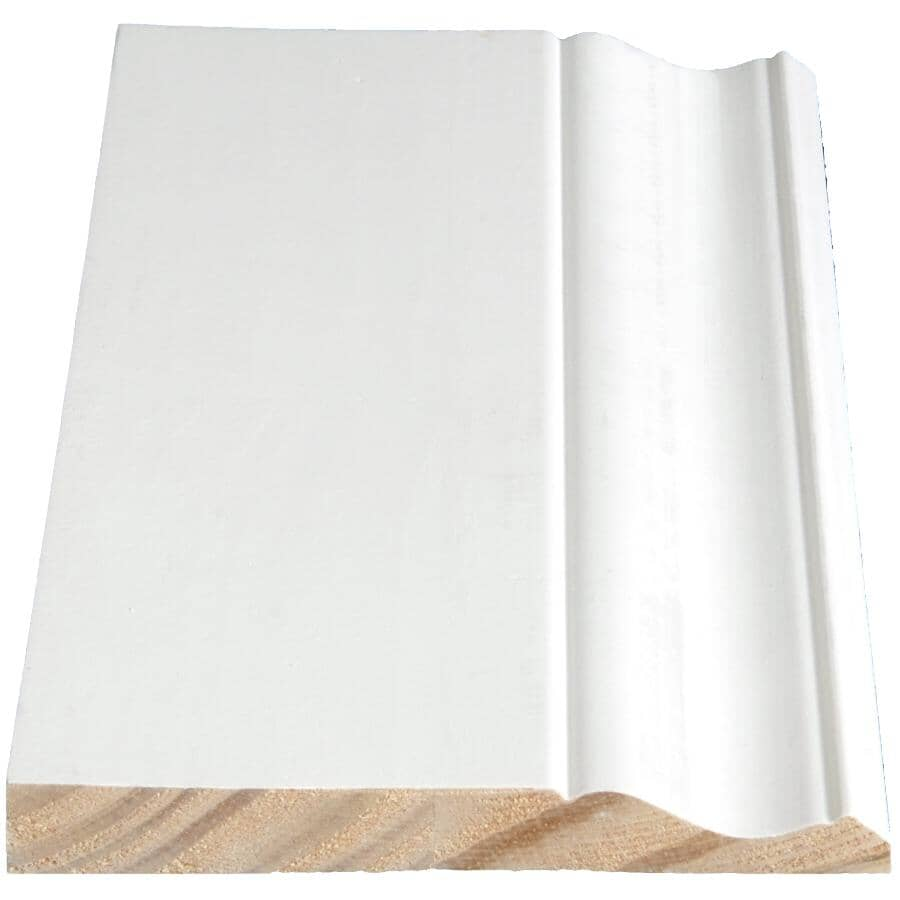 """ALEXANDRIA MOULDING:11/16"""" x 5-1/4"""" Finger Jointed Pine Primed Colonial Baseboard Moulding, by Linear Foot"""