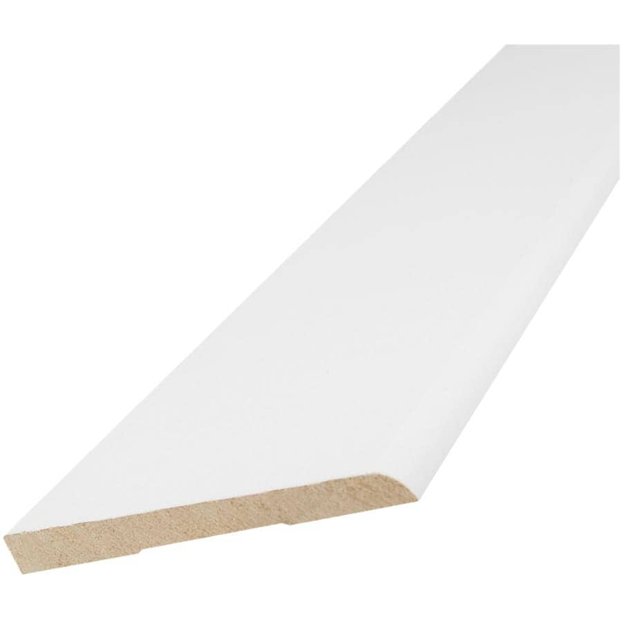 """ALEXANDRIA MOULDING:5/16"""" x 3-1/8"""" x 8' Pre-Finished White bevelled Baseboard Moulding"""