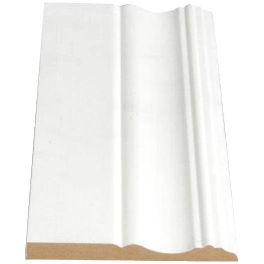 "ALEXANDRIA MOULDING:3/8"" x 3-7/8"" x 8' Medium Density Fibreboard Primed Colonial Baseboard Moulding"