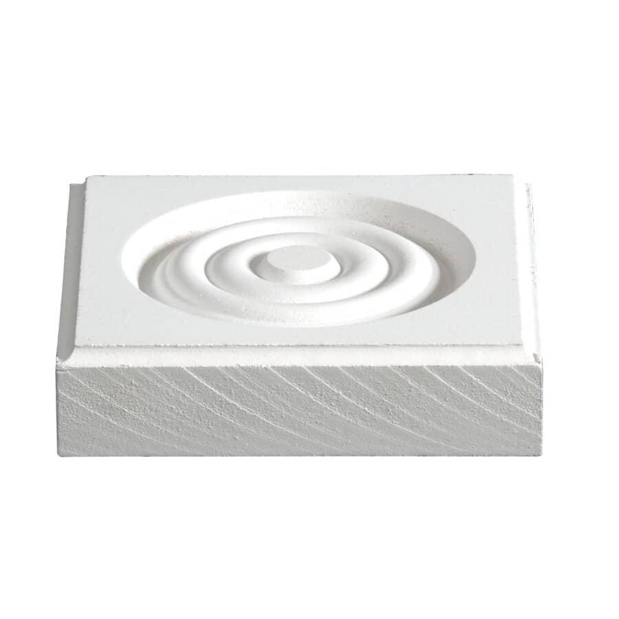 "ALEXANDRIA MOULDING:7/8"" x 3-3/4"" Square Medium Density Fibreboard Primed Corner Block Moulding"
