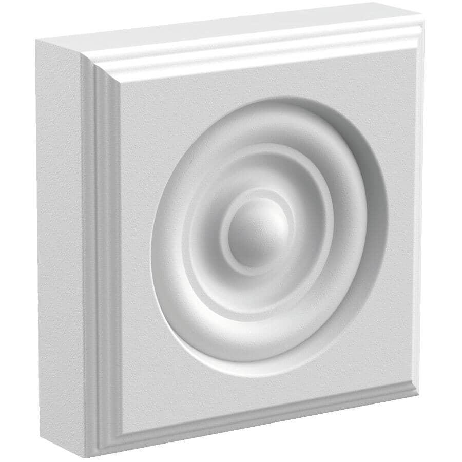 "METRIE:1"" x 3-1/2"" Square Medium Density Fibreboard Primed Corner Block Button Moulding"