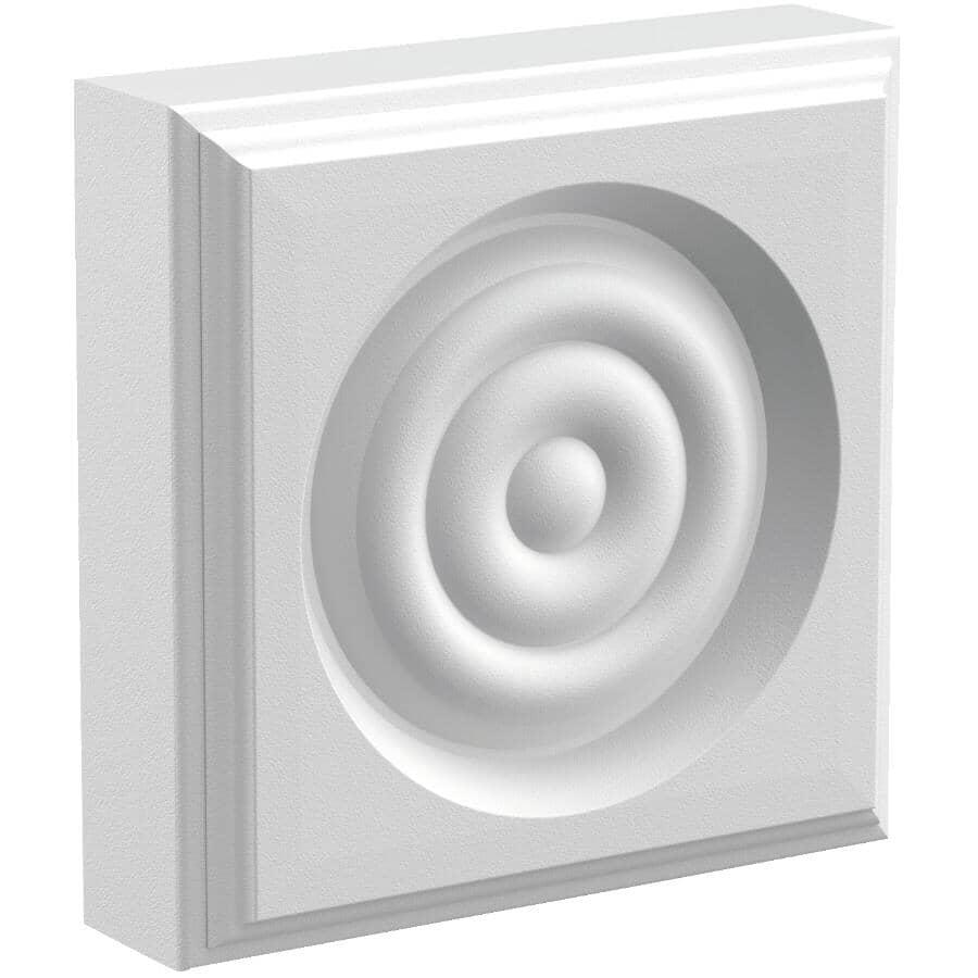 "METRIE:1"" x 3-1/2"" Square Medium Density Fibreboard Primed Corner Block Bullseye Moulding"
