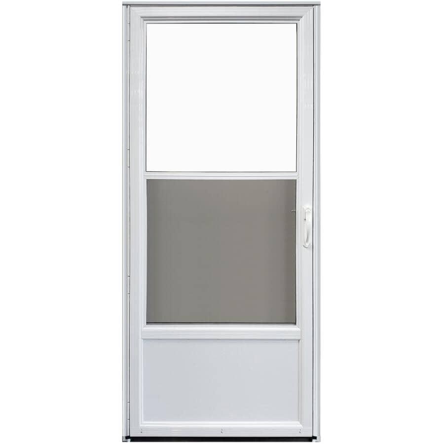 EVERLAST:Contre-porte non rétractable en aluminium ouvrant à gauche de 34 x 80 po avec 2 fenêtres, blanc