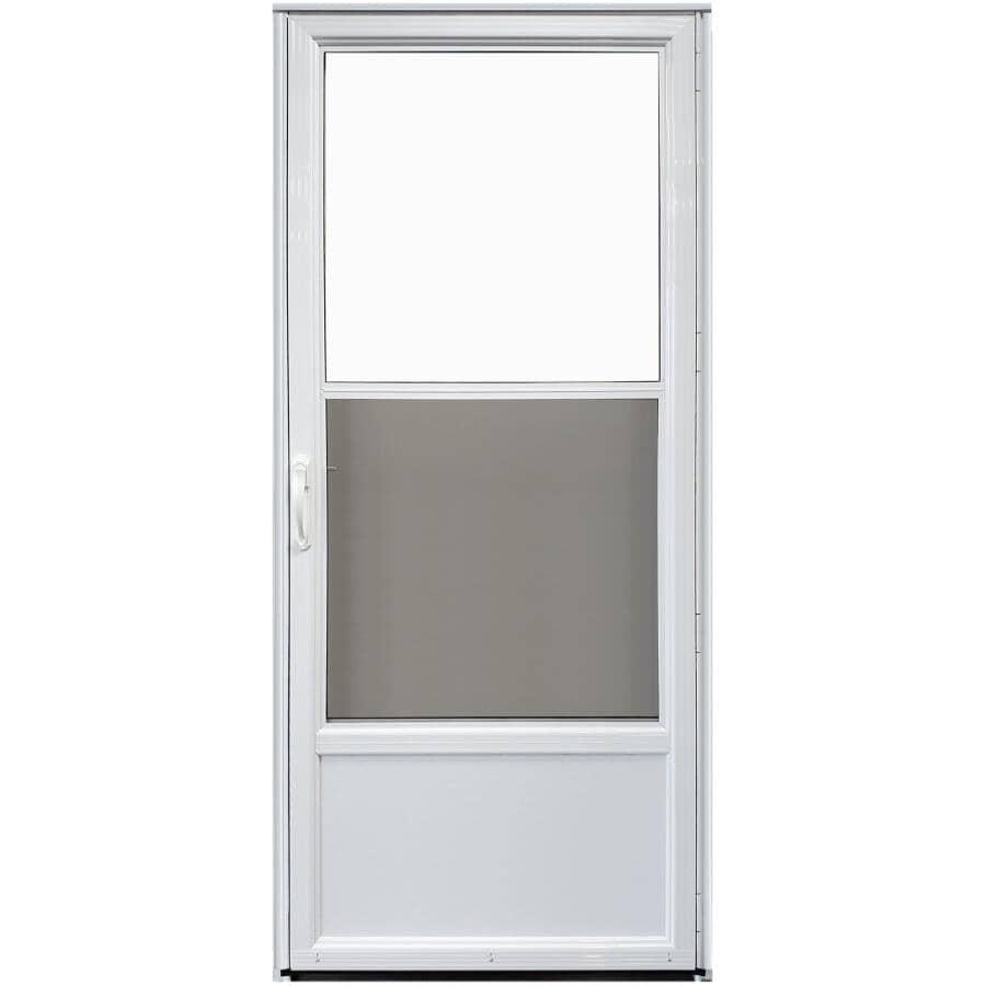 "EVERLAST:33"" x 80"" Self-Storing Right Hand 2 Lite Aluminum Storm Door - Non-Retractable, White"