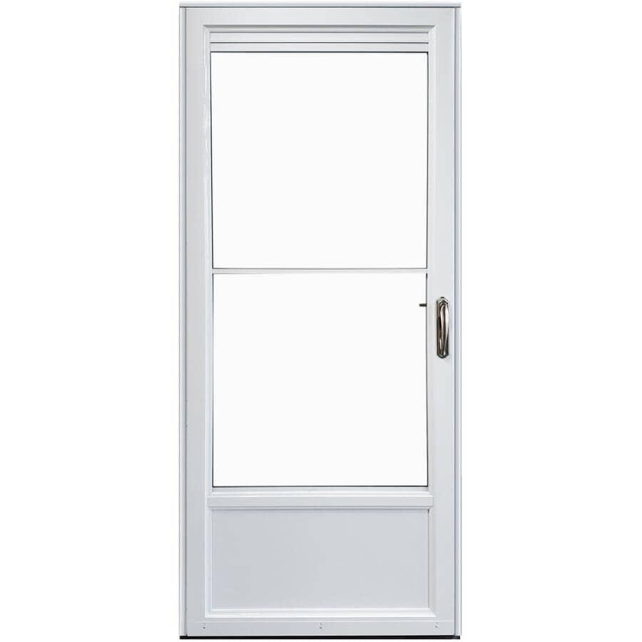 """EVERLAST:36"""" x 80"""" Self-Storing Left Hand 2 Lite Aluminum Storm Door - Retractable, White"""