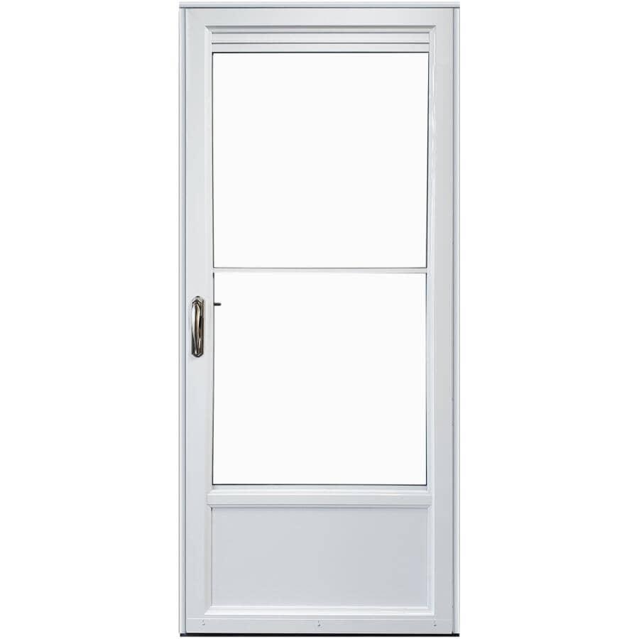 EVERLAST:Contre-porte rétractable en aluminium ouvrant à droite de 32 x 80 po avec 2 fenêtres, blanc