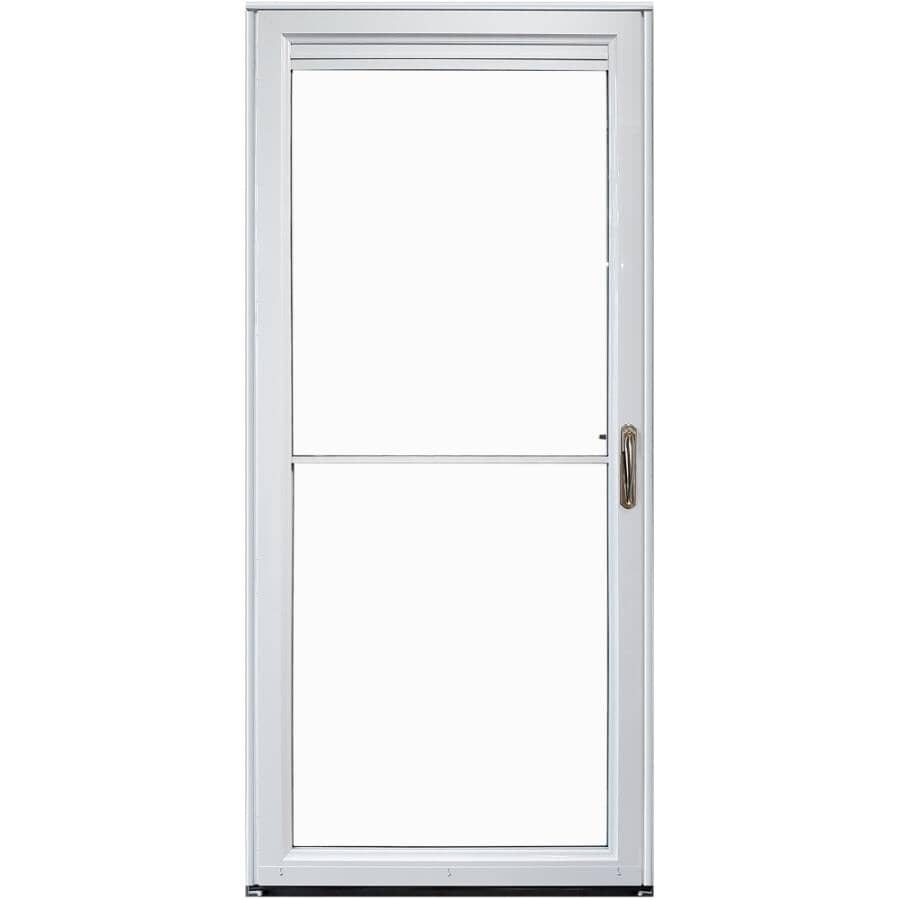 """EVERLAST:36"""" x 80"""" Left Hand Full View 2 Lite Aluminum Storm Door - Retractable, White"""