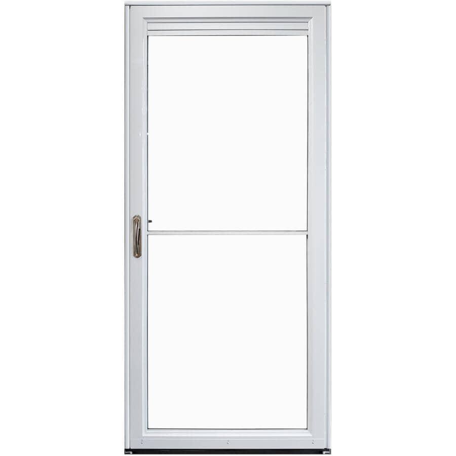 EVERLAST:Contre-porte autorétractable en aluminium de 34 po x 80 po à ouverture à droite avec 2 fenêtres complètes, blanc