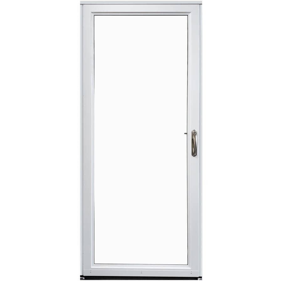 EVERLAST:Contre-porte en aluminium de 32 po x 80 po à ouverture à gauche avec 1 fenêtre complète et moustiquaire amovible, blanc