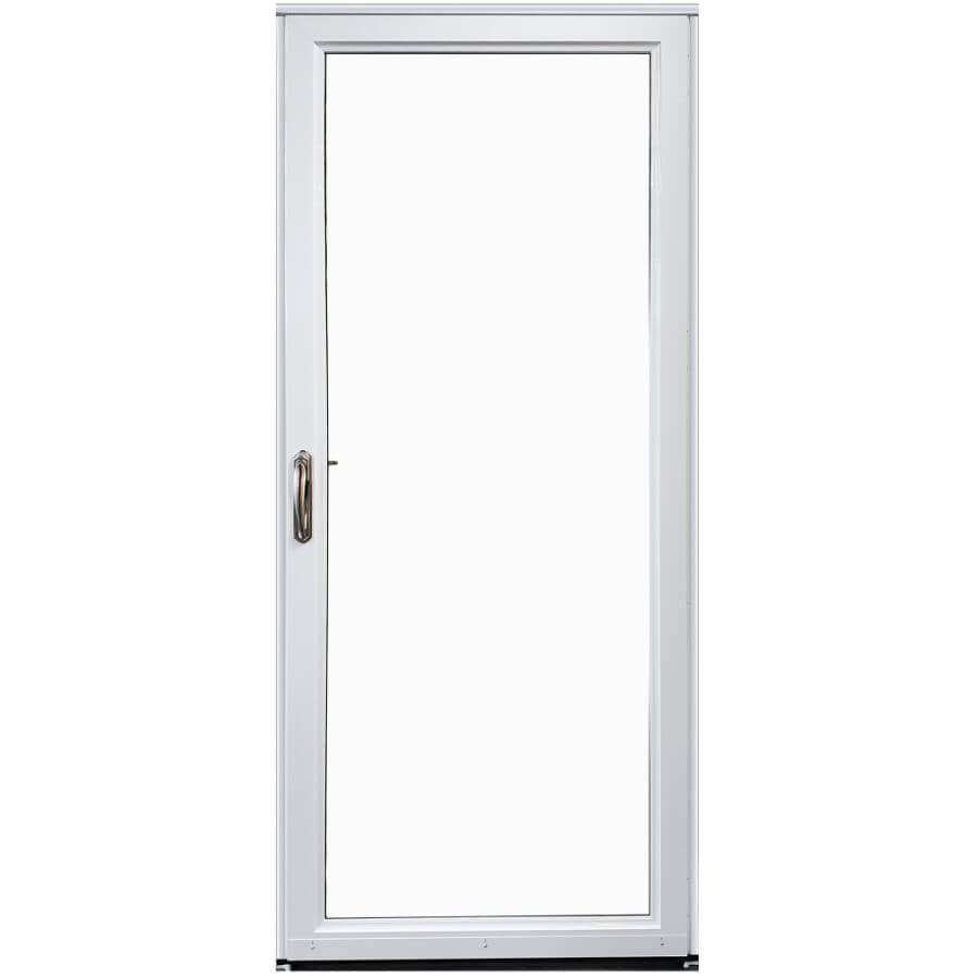 """EVERLAST:34"""" x 80"""" Right Hand Full View 1 Lite Aluminum Storm Door - with Removeable Screen, White"""