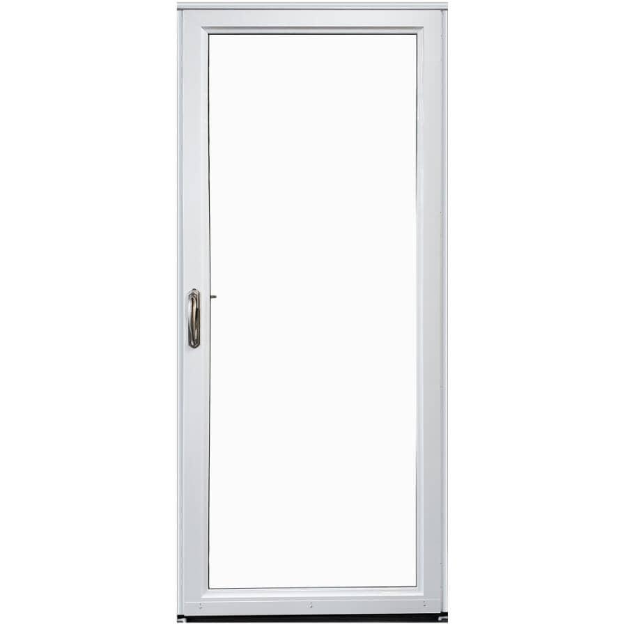 EVERLAST:Contre-porte en aluminium de 36 po x 80 po à ouverture à droite avec 1 fenêtre complète et moustiquaire amovible, blanc