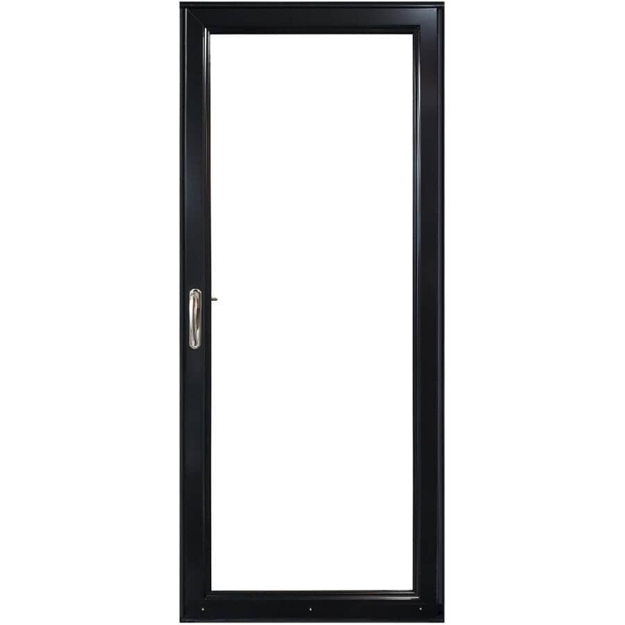 """EVERLAST:34"""" x 80"""" Right Hand Full View 1 Lite Aluminum Storm Door - with Removeable Screen, Black"""