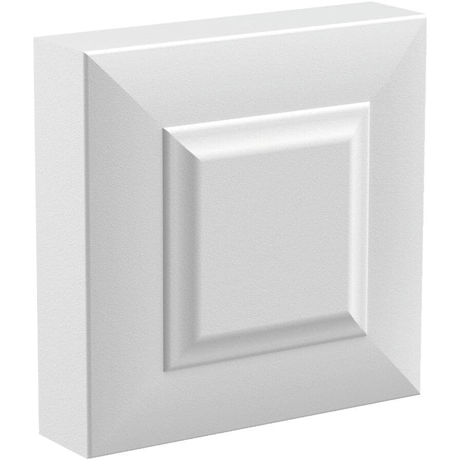 "METRIE:7/8"" x 3-1/4"" Square Medium Density Fibreboard Primed Victorian Corner Block Moulding"