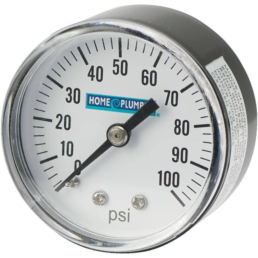 """HOME PLUMBER:1/8"""" Centre Back Mount Pressure Gauge"""