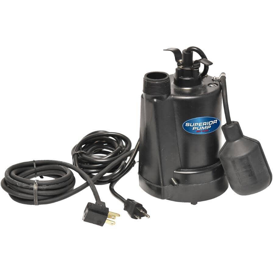 SUPERIOR PUMP:Pompe de puisard submersible de 1/4HP avec interrupteur à flotteur vertical