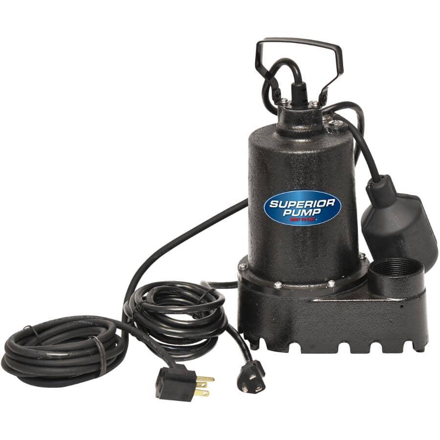 SUPERIOR PUMP:Pompe de puisard en fonte de 1/3 HP avec interrupteur