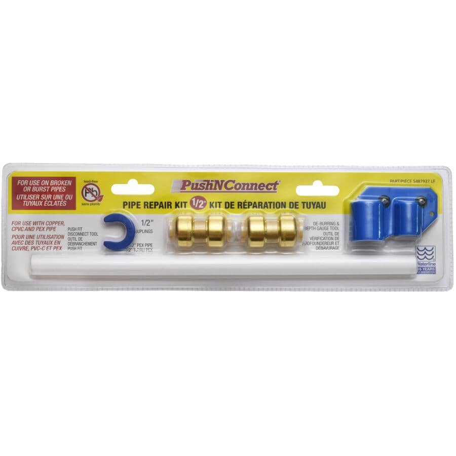"""WATERLINE PRODUCTS:1/2"""" Push N' Connect Pipe Repair Kit"""
