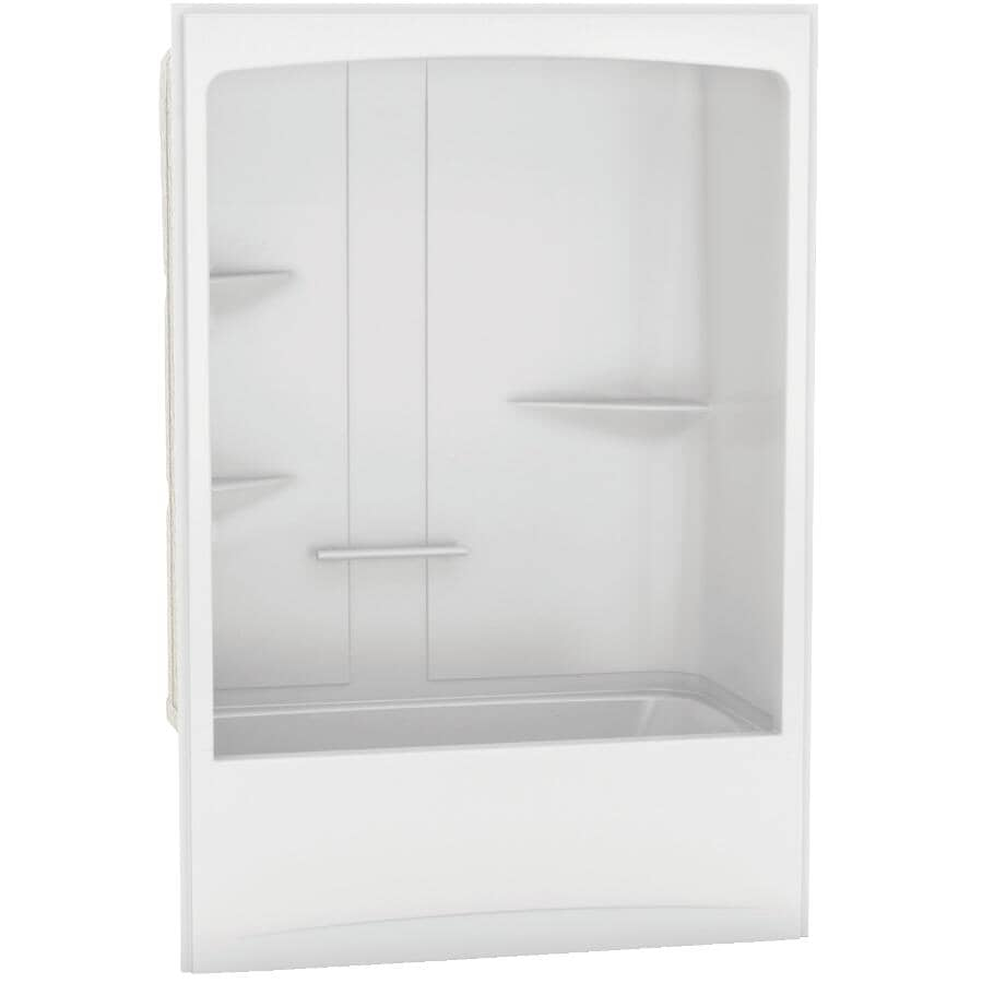 MAAX:Allia 1 Piece White Acrylic Left Hand Tub and Shower, with Roof Cap