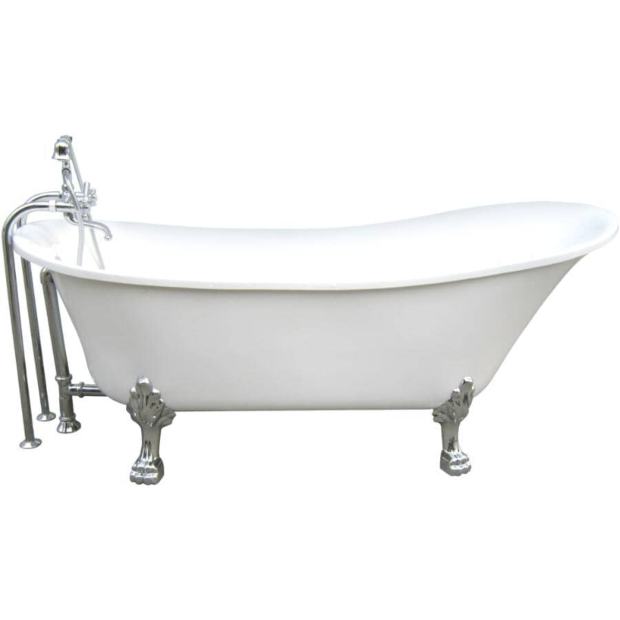 """A&E BATH AND SHOWER:69"""" Clawfoot Freestanding Acrylic Tub - White + Chrome Accessories"""