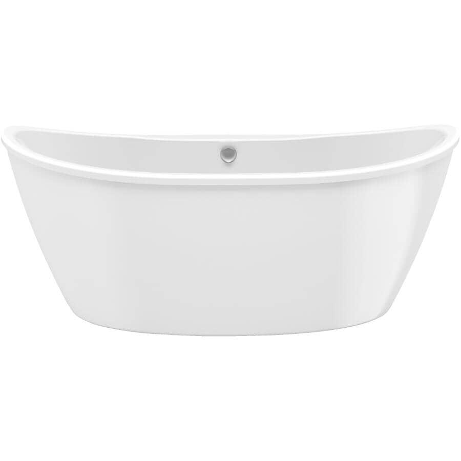 """MAAX:66"""" x 36"""" x 27"""" Delsia White AcrylX Freestanding Oval White Bath Tub with Apron"""