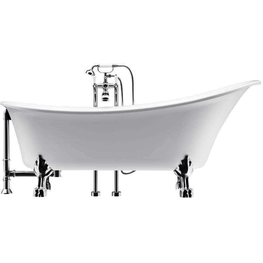 "A&E BATH AND SHOWER:59"" Willington Clawfoot Freestanding Acrylic Tub - White"