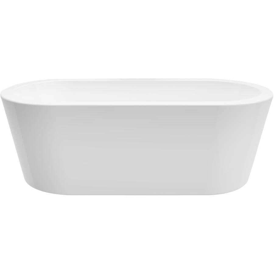 """A&E BATH AND SHOWER:71"""" x 33.5"""" Estelle Freestanding Acrylic Tub - with Deckmount, White"""